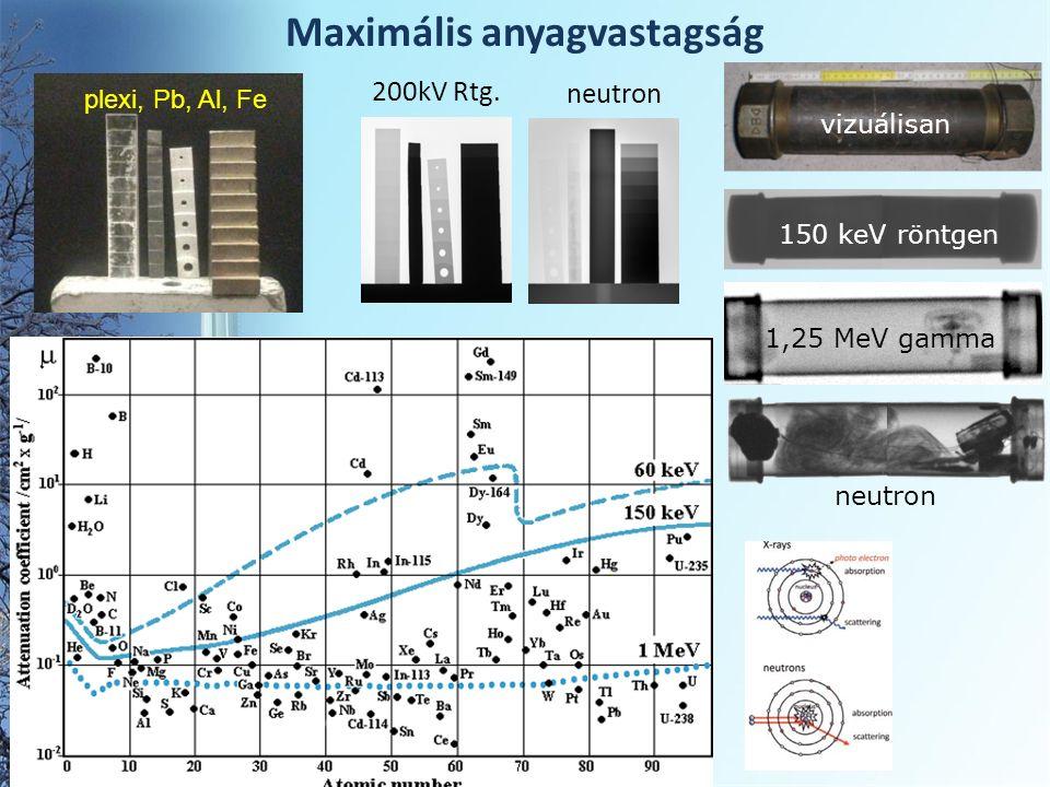 Maximális anyagvastagság plexi, Pb, Al, Fe neutron 200kV Rtg.