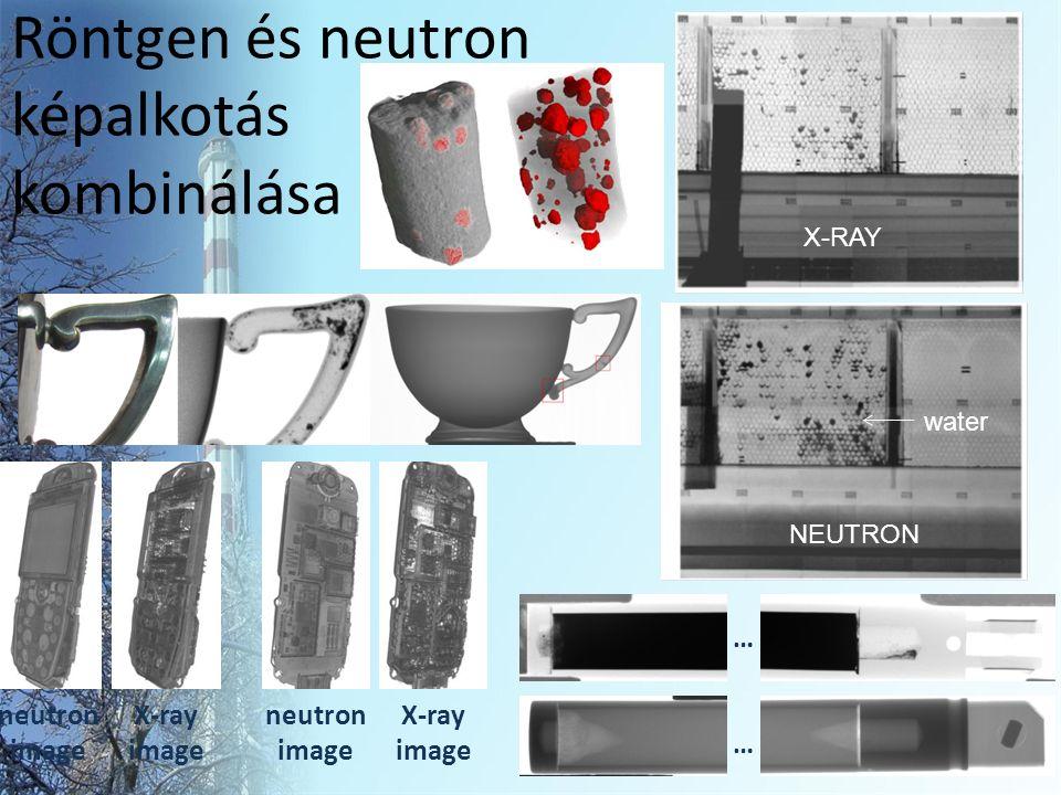 Röntgen és neutron képalkotás kombinálása … … NEUTRON X-RAY water X-ray image neutron image X-ray image neutron image