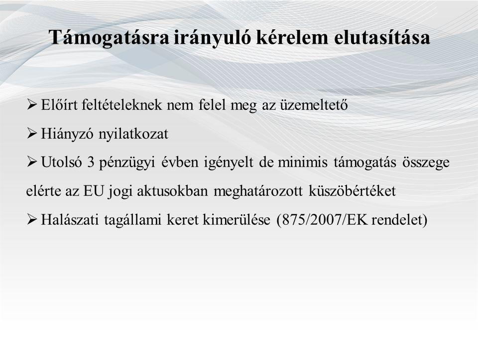 Támogatásra irányuló kérelem elutasítása  Előírt feltételeknek nem felel meg az üzemeltető  Hiányzó nyilatkozat  Utolsó 3 pénzügyi évben igényelt d