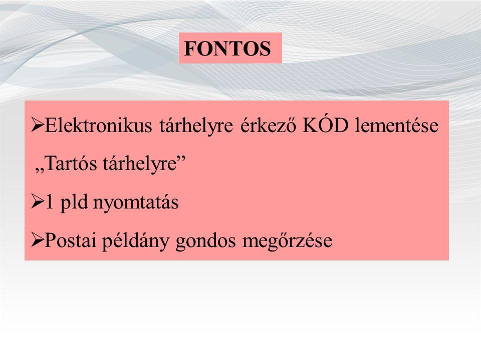 """FONTOS  Elektronikus tárhelyre érkező KÓD lementése """"Tartós tárhelyre""""  1 pld nyomtatás  Postai példány gondos megőrzése"""