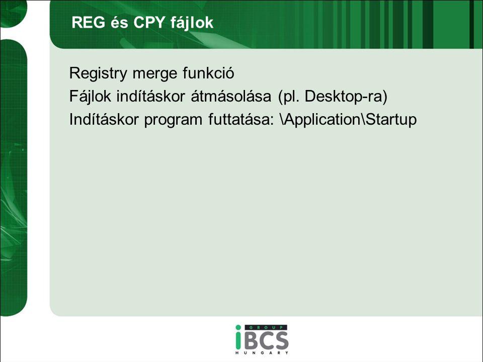 REG és CPY fájlok Registry merge funkció Fájlok indításkor átmásolása (pl.