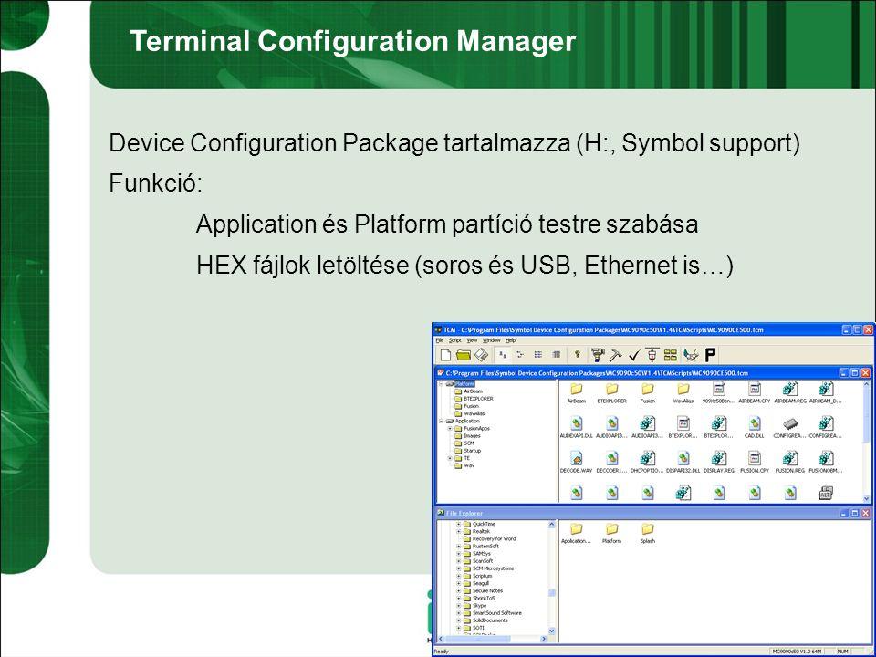 Image frissítés SD kártyával Szükséges eszközök: OSUpdate package (H: vagy Symbol support) SD kártya Bölcső Menetrend: OSUpdate package → SD kártya OSUpdate mappa SD kártya behelyezése MC30xx → akku alatt, MC90xx → billentyűzet alatt (csavarok) Terminál → Bölcső Több áram kell az OS frissítéshez Elindítani az OSUpdate programot a kártyáról