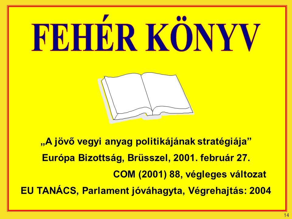 """14 """"A jövő vegyi anyag politikájának stratégiája Európa Bizottság, Brüsszel, 2001."""