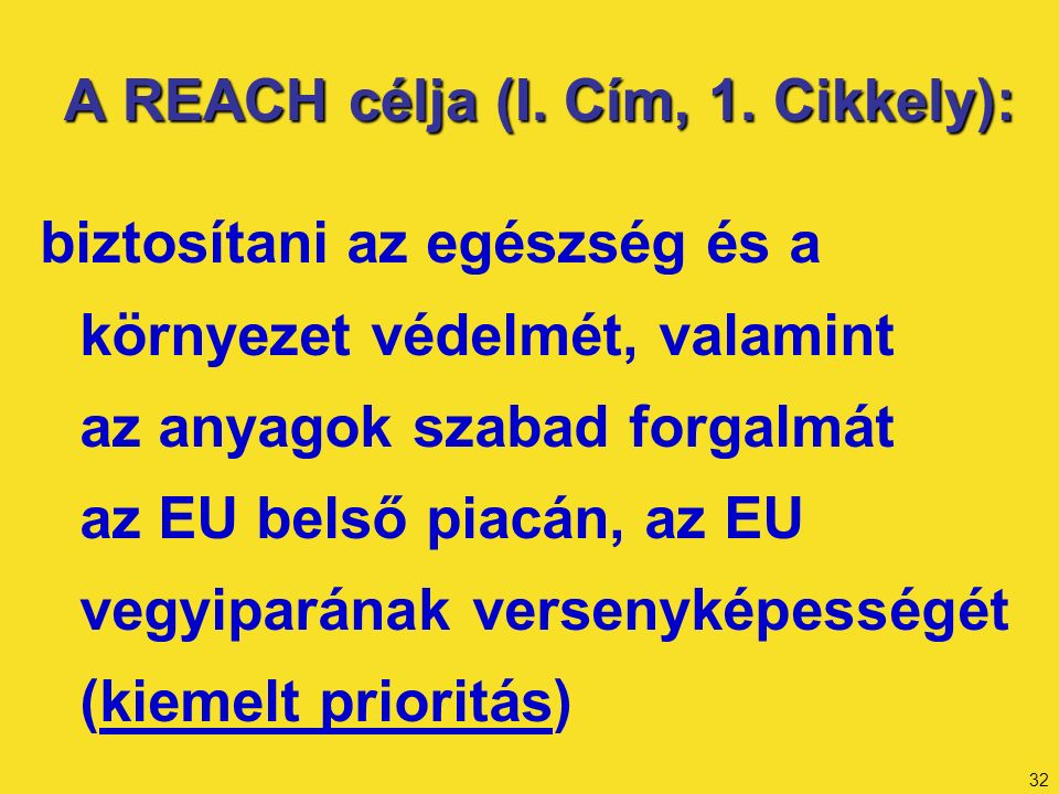 32 A REACH célja (I. Cím, 1.