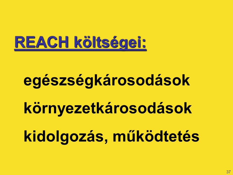 37 REACH költségei: egészségkárosodások környezetkárosodások kidolgozás, működtetés