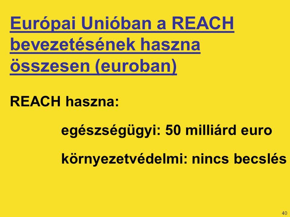 40 REACH haszna: egészségügyi: 50 milliárd euro környezetvédelmi: nincs becslés Európai Unióban a REACH bevezetésének haszna összesen (euroban)