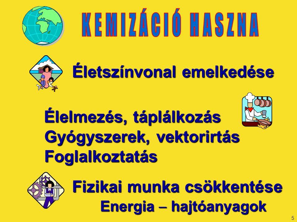 5 Életszínvonal emelkedése Élelmezés, táplálkozás Fizikai munka csökkentése Gyógyszerek, vektorirtás Foglalkoztatás Energia  hajtóanyagok