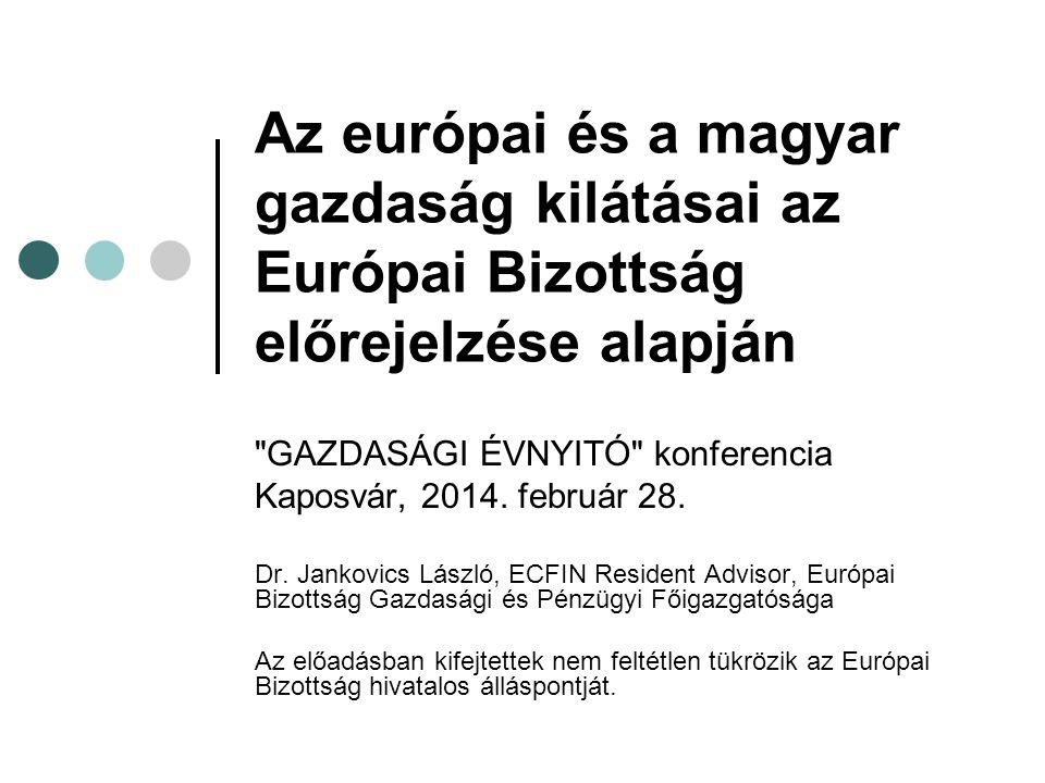 Az európai és a magyar gazdaság kilátásai az Európai Bizottság előrejelzése alapján GAZDASÁGI ÉVNYITÓ konferencia Kaposvár, 2014.