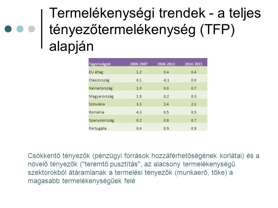 Termelékenységi trendek - a teljes tényezőtermelékenység (TFP) alapján Tagországok2000-20072008-20132014-2015 EU átlag1.20.4 Olaszország0.1-0.10.0 Németország1.00.60.7 Magyarország1.90.20.3 Szlovákia3.32.42.1 Románia4.30.5 Spanyolország0.20.80.7 Portugália0.40.9 Csökkentő tényezők (pénzügyi források hozzáférhetőségének korlátai) és a növelő tényezők ( teremtő pusztítás , az alacsony termelékenységű szektorokból átáramlanak a termelési tényezők (munkaerő, tőke) a magasabb termelékenységűek felé