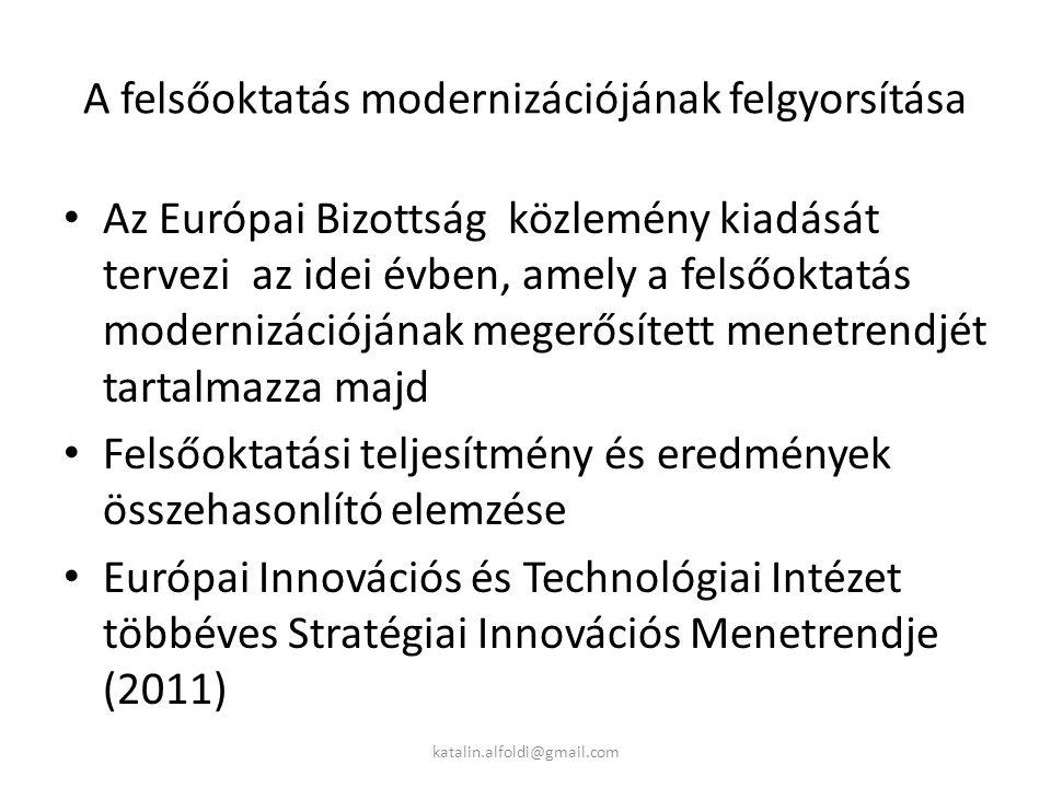 A felsőoktatás modernizációjának felgyorsítása Az Európai Bizottság közlemény kiadását tervezi az idei évben, amely a felsőoktatás modernizációjának megerősített menetrendjét tartalmazza majd Felsőoktatási teljesítmény és eredmények összehasonlító elemzése Európai Innovációs és Technológiai Intézet többéves Stratégiai Innovációs Menetrendje (2011) katalin.alfoldi@gmail.com