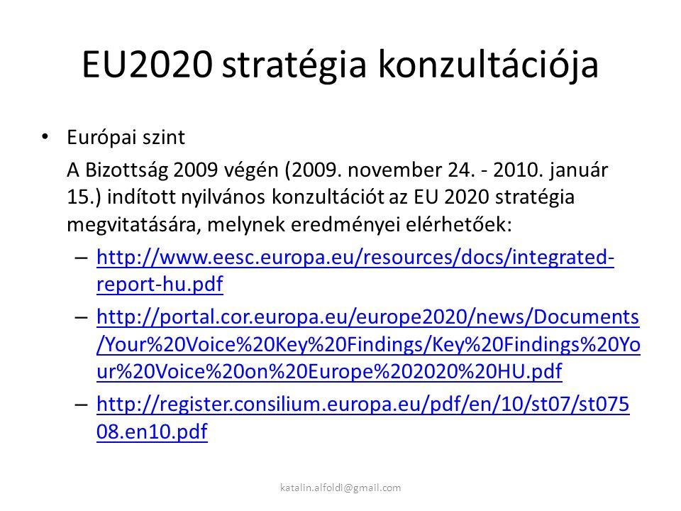 EU2020 stratégia konzultációja Európai szint A Bizottság 2009 végén (2009.