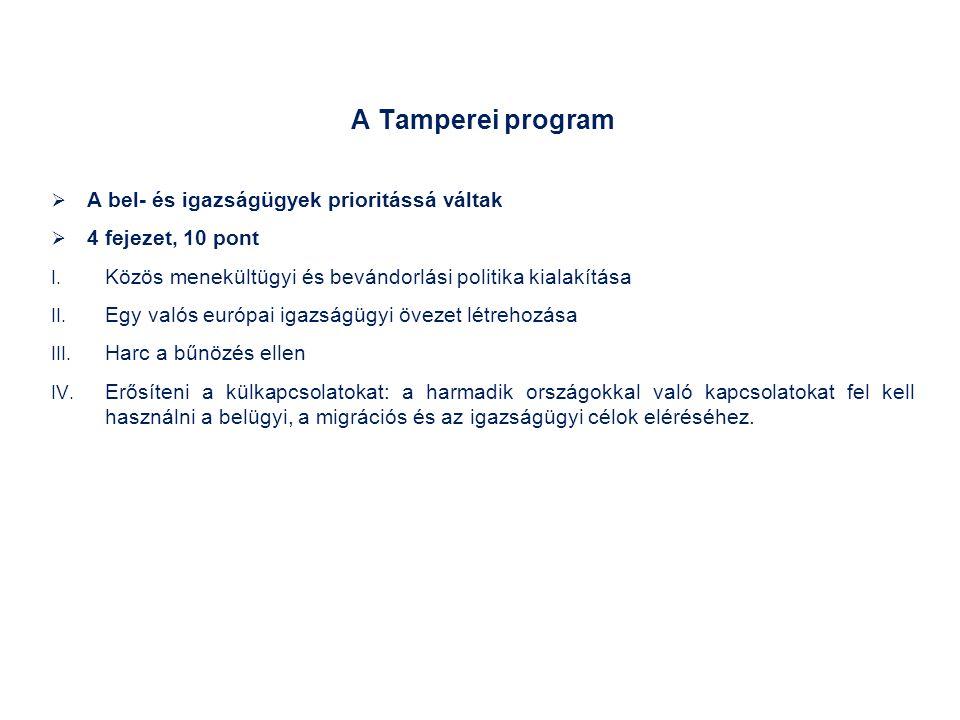 A Tamperei program  A bel- és igazságügyek prioritássá váltak  4 fejezet, 10 pont I.