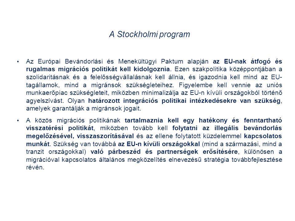 A Stockholmi program Az Európai Bevándorlási és Menekültügyi Paktum alapján az EU-nak átfogó és rugalmas migrációs politikát kell kidolgoznia.