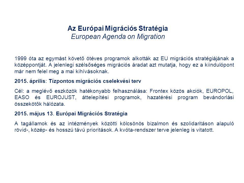 Az Európai Migrációs Stratégia European Agenda on Migration 1999 óta az egymást követő ötéves programok alkották az EU migrációs stratégiájának a középpontját.