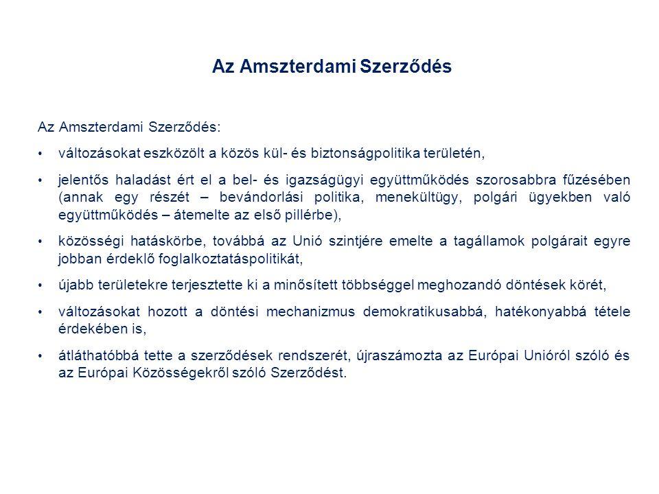 Az Amszterdami Szerződés Az Amszterdami Szerződés: változásokat eszközölt a közös kül- és biztonságpolitika területén, jelentős haladást ért el a bel- és igazságügyi együttműködés szorosabbra fűzésében (annak egy részét – bevándorlási politika, menekültügy, polgári ügyekben való együttműködés – átemelte az első pillérbe), közösségi hatáskörbe, továbbá az Unió szintjére emelte a tagállamok polgárait egyre jobban érdeklő foglalkoztatáspolitikát, újabb területekre terjesztette ki a minősített többséggel meghozandó döntések körét, változásokat hozott a döntési mechanizmus demokratikusabbá, hatékonyabbá tétele érdekében is, átláthatóbbá tette a szerződések rendszerét, újraszámozta az Európai Unióról szóló és az Európai Közösségekről szóló Szerződést.