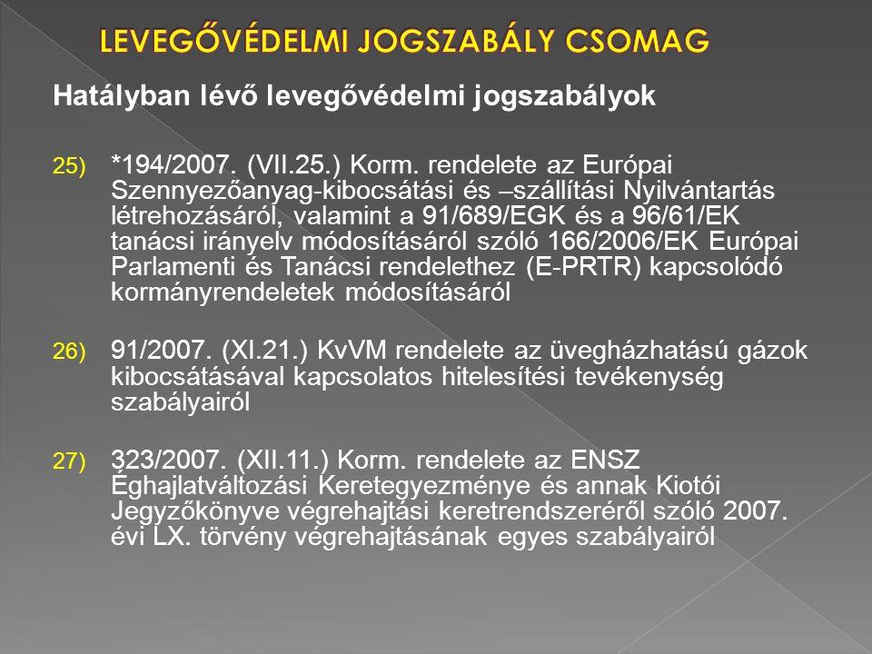 Hatályban lévő levegővédelmi jogszabályok 25) *194/2007. (VII.25.) Korm. rendelete az Európai Szennyezőanyag-kibocsátási és –szállítási Nyilvántartás