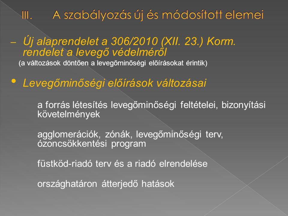 – Új alaprendelet a 306/2010 (XII. 23.) Korm. rendelet a levegő védelméről (a változások döntően a levegőminőségi előírásokat érintik) Levegőminőségi