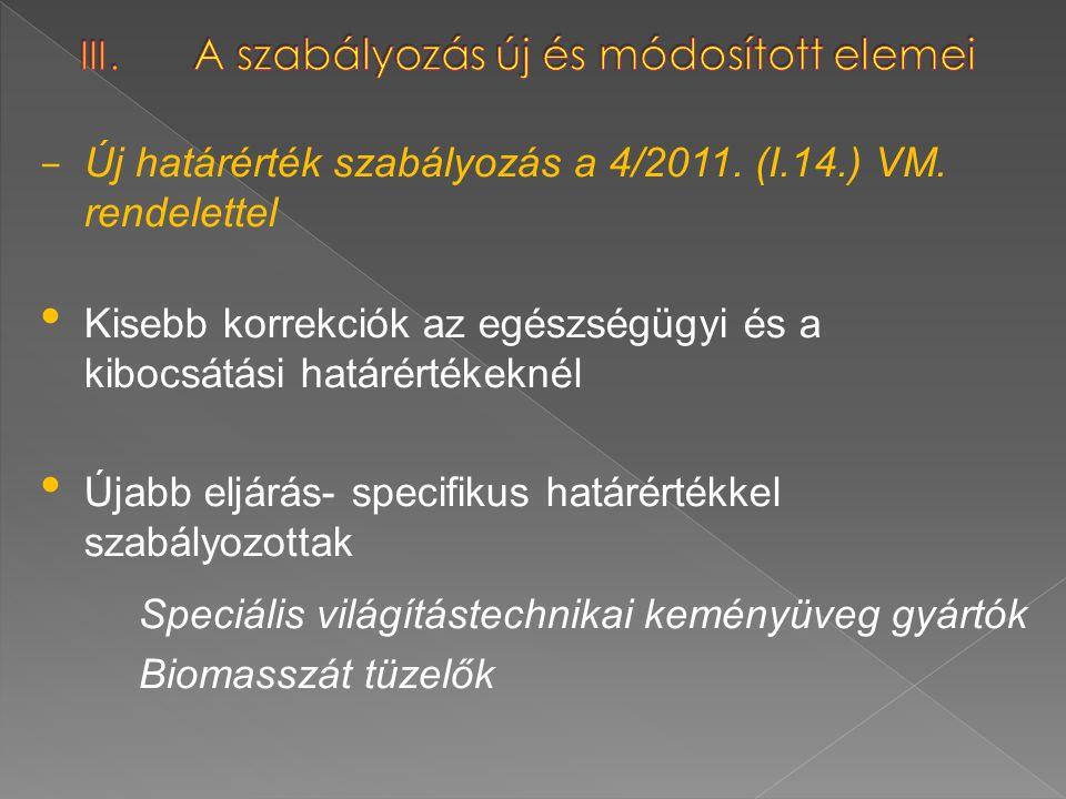 – Új határérték szabályozás a 4/2011. (I.14.) VM. rendelettel Kisebb korrekciók az egészségügyi és a kibocsátási határértékeknél Újabb eljárás- specif