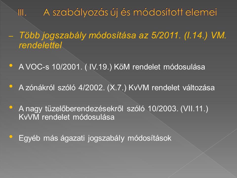 – Több jogszabály módosítása az 5/2011. (I.14.) VM. rendelettel A VOC-s 10/2001. ( IV.19.) KöM rendelet módosulása A zónákról szóló 4/2002. (X.7.) KvV