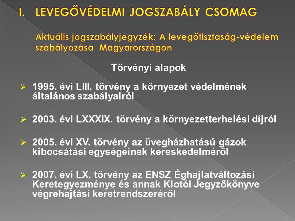 Törvényi alapok  1995. évi LIII. törvény a környezet védelmének általános szabályairól  2003. évi LXXXIX. törvény a környezetterhelési díjról  2005