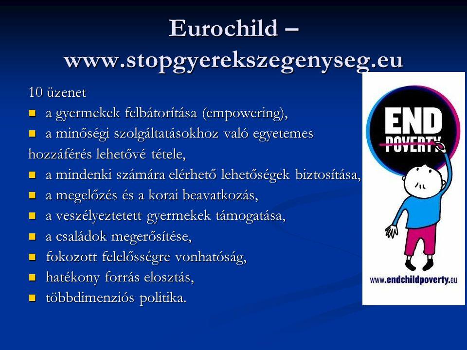 Eurochild – www.stopgyerekszegenyseg.eu 10 üzenet a gyermekek felbátorítása (empowering), a gyermekek felbátorítása (empowering), a minőségi szolgáltatásokhoz való egyetemes a minőségi szolgáltatásokhoz való egyetemes hozzáférés lehetővé tétele, a mindenki számára elérhető lehetőségek biztosítása, a mindenki számára elérhető lehetőségek biztosítása, a megelőzés és a korai beavatkozás, a megelőzés és a korai beavatkozás, a veszélyeztetett gyermekek támogatása, a veszélyeztetett gyermekek támogatása, a családok megerősítése, a családok megerősítése, fokozott felelősségre vonhatóság, fokozott felelősségre vonhatóság, hatékony forrás elosztás, hatékony forrás elosztás, többdimenziós politika.