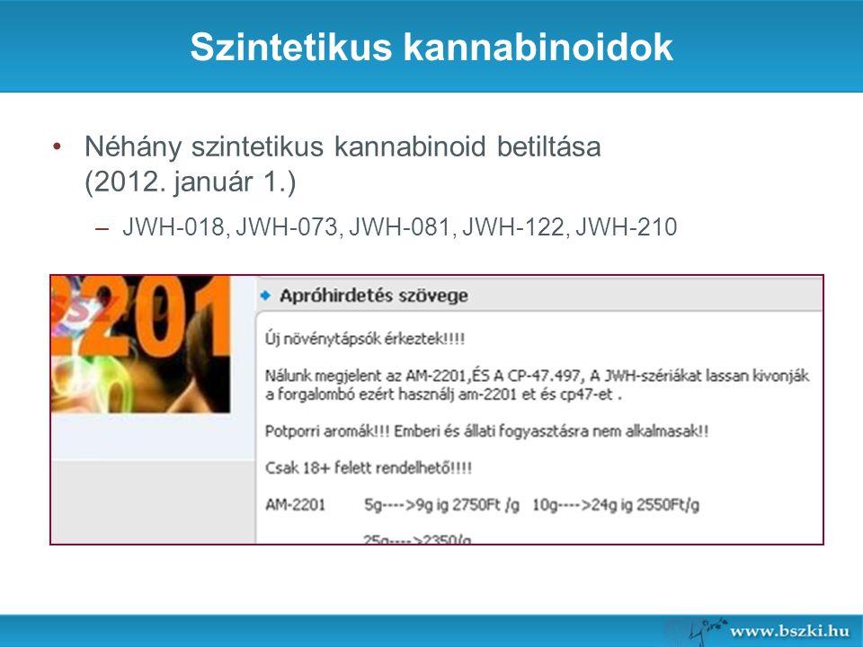 Szintetikus kannabinoidok Néhány szintetikus kannabinoid betiltása (2012.