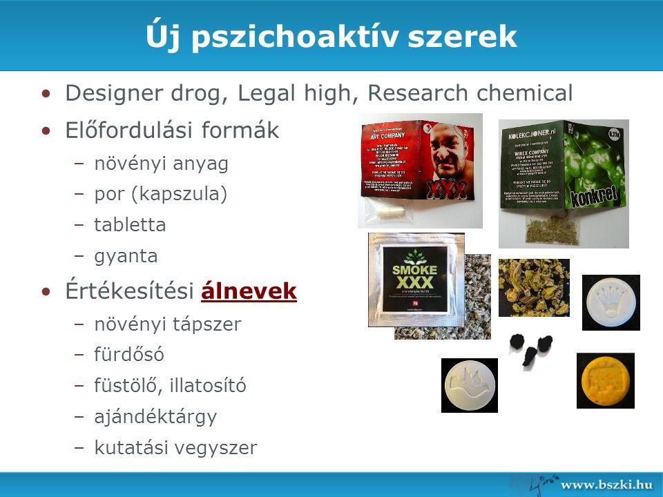 Új pszichoaktív szerek Designer drog, Legal high, Research chemical Előfordulási formák – –növényi anyag – –por (kapszula) – –tabletta – –gyanta Értékesítési álnevek – –növényi tápszer – –fürdősó – –füstölő, illatosító – –ajándéktárgy – –kutatási vegyszer