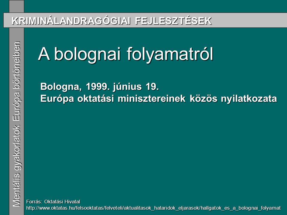 KRIMINÁLANDRAGÓGIAI FEJLESZTÉSEK Mentális gyakorlatok Európa börtöneiben Mentális gyakorlatok Európa börtöneiben A bolognai folyamatról Forrás: Oktatási Hivatal http://www.oktatas.hu/felsooktatas/felveteli/aktualitasok_hataridok_eljarasok/hallgatok_es_a_bolognai_folyamat Bologna, 1999.