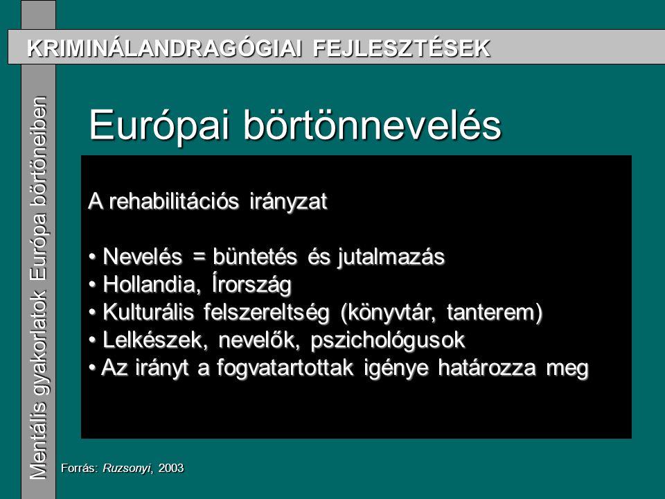 KRIMINÁLANDRAGÓGIAI FEJLESZTÉSEK Mentális gyakorlatok Európa börtöneiben Mentális gyakorlatok Európa börtöneiben Európai börtönnevelés Drillközpontú irányzat Drillközpontú irányzat A volt szocialista országok gyakorlata A volt szocialista országok gyakorlata Porosz iskola Porosz iskola Rehabilitációs irányzat Rehabilitációs irányzat Forrás: Ruzsonyi, 2003 A rehabilitációs irányzat Nevelés = büntetés és jutalmazás Nevelés = büntetés és jutalmazás Hollandia, Írország Hollandia, Írország Kulturális felszereltség (könyvtár, tanterem) Kulturális felszereltség (könyvtár, tanterem) Lelkészek, nevelők, pszichológusok Lelkészek, nevelők, pszichológusok Az irányt a fogvatartottak igénye határozza meg Az irányt a fogvatartottak igénye határozza meg