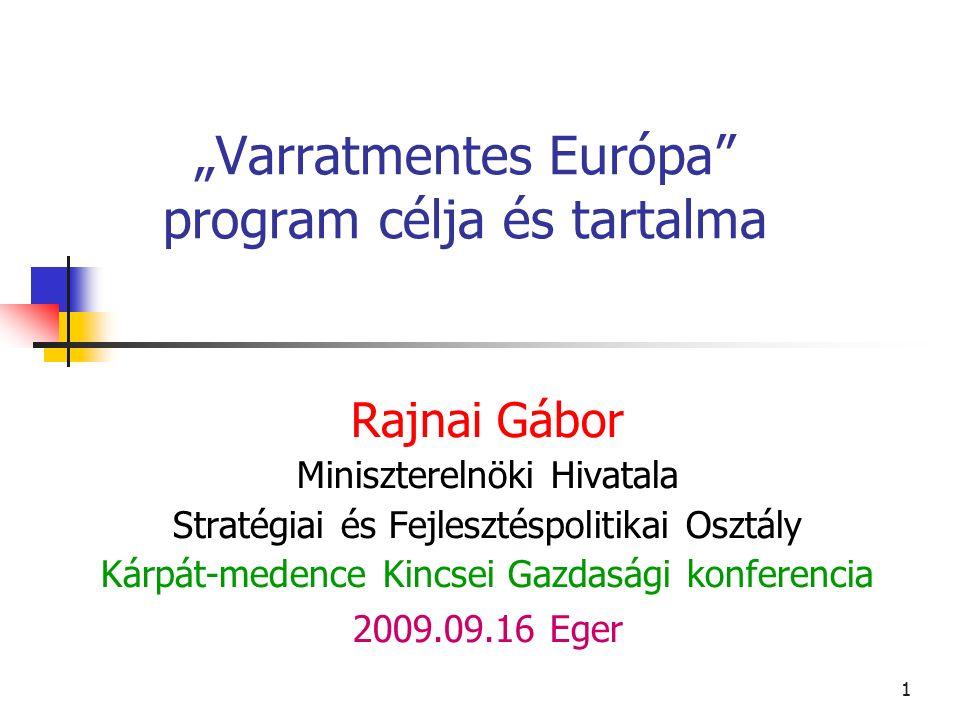 """1 """"Varratmentes Európa program célja és tartalma Rajnai Gábor Miniszterelnöki Hivatala Stratégiai és Fejlesztéspolitikai Osztály Kárpát-medence Kincsei Gazdasági konferencia 2009.09.16 Eger"""