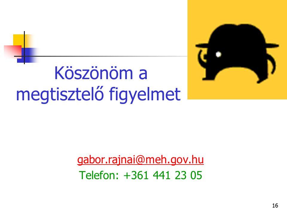 16 Köszönöm a megtisztelő figyelmet gabor.rajnai@meh.gov.hu Telefon: +361 441 23 05