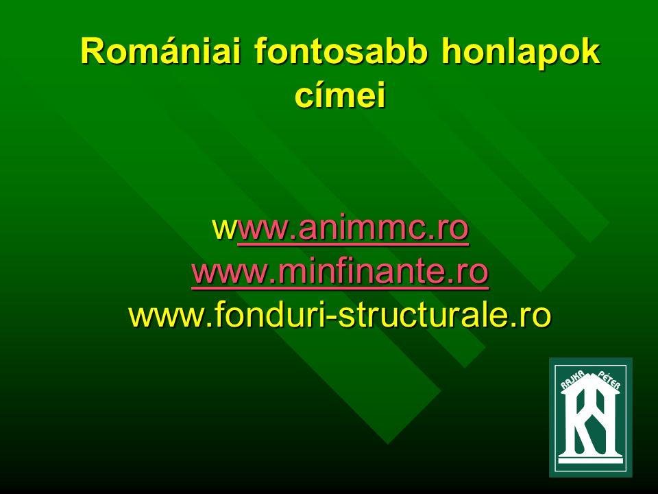 Romániai fontosabb honlapok címei www.animmc.ro www.minfinante.ro www.fonduri-structurale.ro ww.animmc.ro www.minfinante.roww.animmc.ro www.minfinante.ro