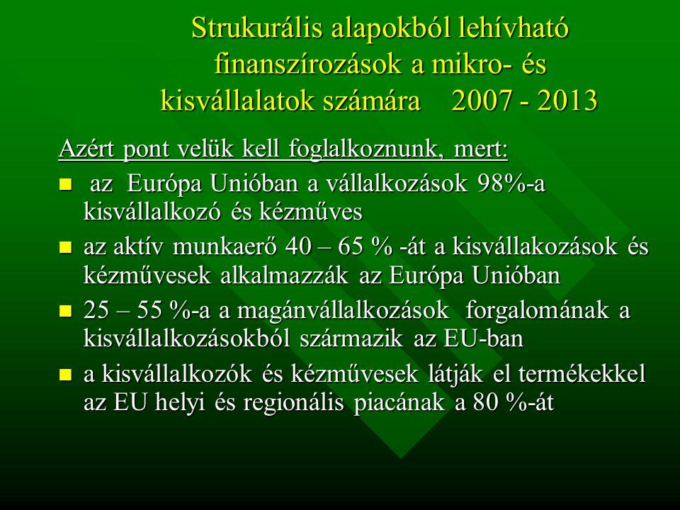 Strukurális alapokból lehívható finanszírozások a mikro- és kisvállalatok számára 2007 - 2013 Azért pont velük kell foglalkoznunk, mert: az Európa Unióban a vállalkozások 98%-a kisvállalkozó és kézműves az Európa Unióban a vállalkozások 98%-a kisvállalkozó és kézműves az aktív munkaerő 40 – 65 % -át a kisvállakozások és kézművesek alkalmazzák az Európa Unióban az aktív munkaerő 40 – 65 % -át a kisvállakozások és kézművesek alkalmazzák az Európa Unióban 25 – 55 %-a a magánvállalkozások forgalomának a kisvállalkozásokból származik az EU-ban 25 – 55 %-a a magánvállalkozások forgalomának a kisvállalkozásokból származik az EU-ban a kisvállalkozók és kézművesek látják el termékekkel az EU helyi és regionális piacának a 80 %-át a kisvállalkozók és kézművesek látják el termékekkel az EU helyi és regionális piacának a 80 %-át
