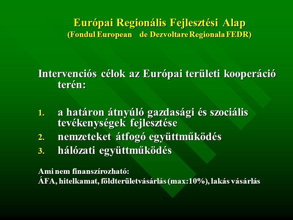 Intervenciós célok az Európai területi kooperáció terén: 1.