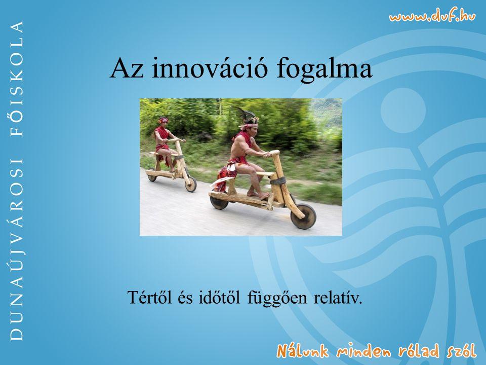 Az innováció fogalma Tértől és időtől függően relatív.