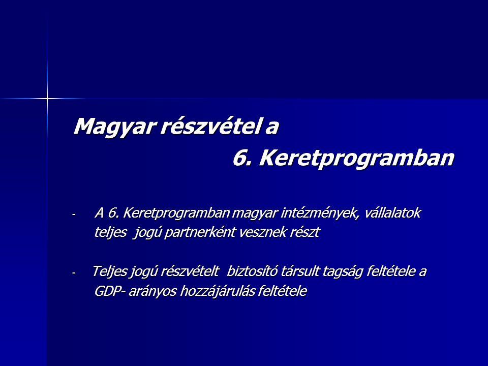 Magyar részvétel a 6. Keretprogramban 6. Keretprogramban - A 6.
