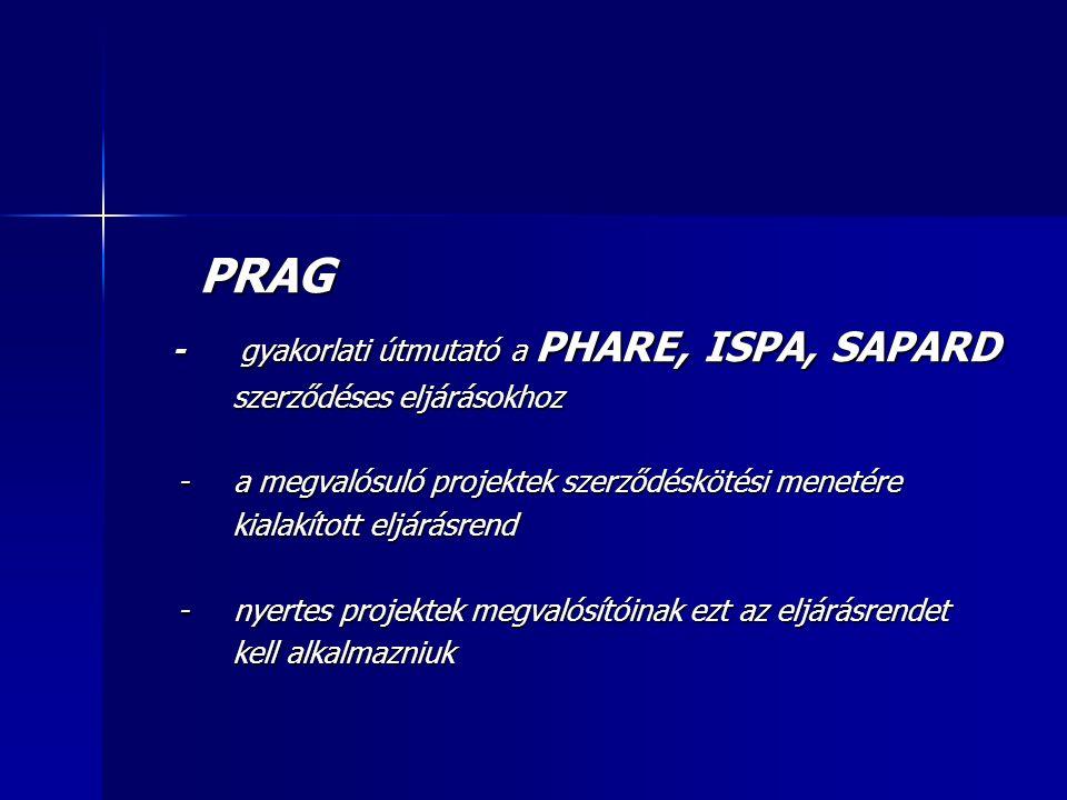 PRAG PRAG - gyakorlati útmutató a PHARE, ISPA, SAPARD - gyakorlati útmutató a PHARE, ISPA, SAPARD szerződéses eljárásokhoz szerződéses eljárásokhoz - a megvalósuló projektek szerződéskötési menetére - a megvalósuló projektek szerződéskötési menetére kialakított eljárásrend kialakított eljárásrend - nyertes projektek megvalósítóinak ezt az eljárásrendet - nyertes projektek megvalósítóinak ezt az eljárásrendet kell alkalmazniuk kell alkalmazniuk