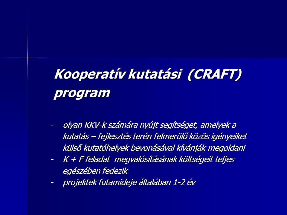 Kooperatív kutatási (CRAFT) Kooperatív kutatási (CRAFT) program program - olyan KKV-k számára nyújt segítséget, amelyek a - olyan KKV-k számára nyújt segítséget, amelyek a kutatás – fejlesztés terén felmerülő közös igényeiket kutatás – fejlesztés terén felmerülő közös igényeiket külső kutatóhelyek bevonásával kívánják megoldani külső kutatóhelyek bevonásával kívánják megoldani - K + F feladat megvalósításának költségeit teljes - K + F feladat megvalósításának költségeit teljes egészében fedezik egészében fedezik - projektek futamideje általában 1-2 év - projektek futamideje általában 1-2 év