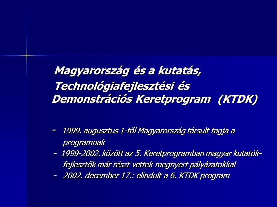 Magyarország és a kutatás, Magyarország és a kutatás, Technológiafejlesztési és Demonstrációs Keretprogram (KTDK) Technológiafejlesztési és Demonstrációs Keretprogram (KTDK) - 1999.