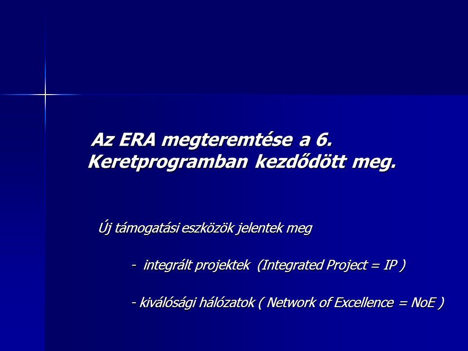 Integrált projektek Integrált projektek az adott szakterület paradigmaváltásához az adott szakterület paradigmaváltásához járulnak hozzá járulnak hozzá Kiválósági hálozatok Kiválósági hálozatok az adott szakterület meghatározó szereplői az adott szakterület meghatározó szereplői lehetnek az európai, vagy akár a világpiacon lehetnek az európai, vagy akár a világpiacon is a közös kutatási terv alapján véghezvitt is a közös kutatási terv alapján véghezvitt munkáikkal munkáikkal