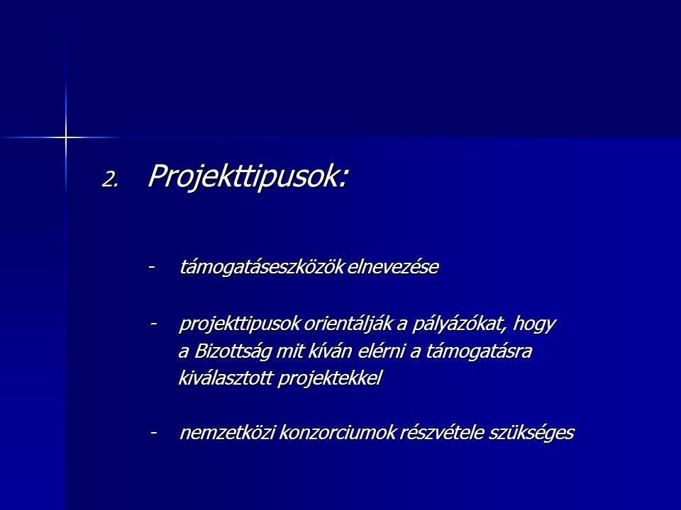 2. Projekttipusok: - támogatáseszközök elnevezése - támogatáseszközök elnevezése - projekttipusok orientálják a pályázókat, hogy - projekttipusok orie