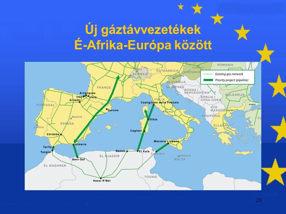 28 Új gáztávvezetékek É-Afrika-Európa között