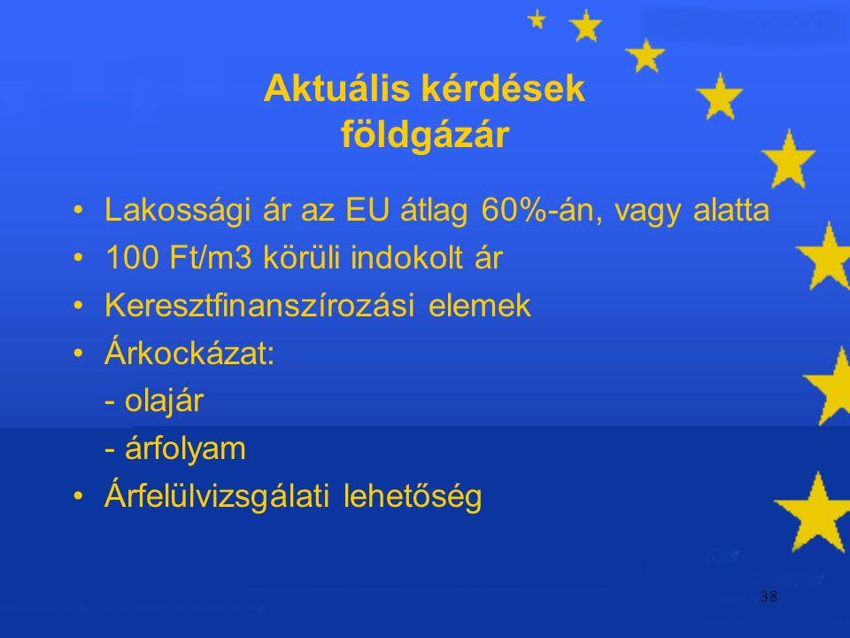 38 Aktuális kérdések földgázár Lakossági ár az EU átlag 60%-án, vagy alatta 100 Ft/m3 körüli indokolt ár Keresztfinanszírozási elemek Árkockázat: - olajár - árfolyam Árfelülvizsgálati lehetőség