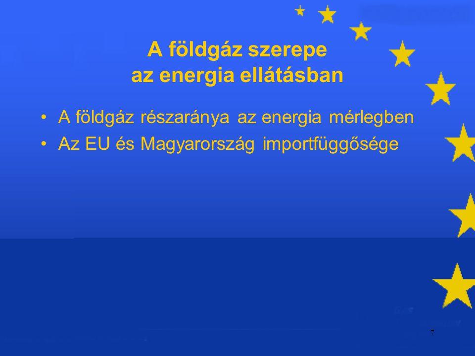 7 A földgáz szerepe az energia ellátásban A földgáz részaránya az energia mérlegben Az EU és Magyarország importfüggősége