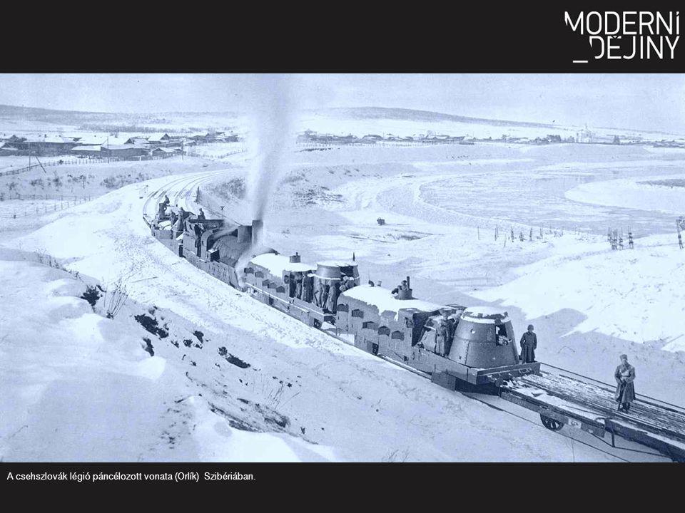 A csehszlovák légió páncélozott vonata (Orlík) Szibériában.