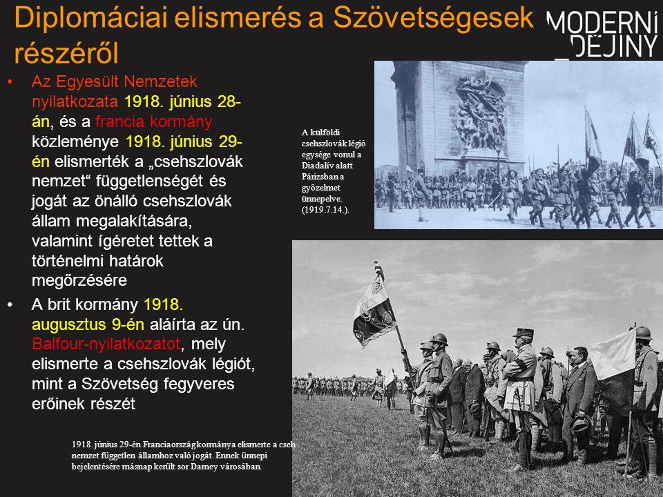 Diplomáciai elismerés a Szövetségesek részéről Az Egyesült Nemzetek nyilatkozata 1918.