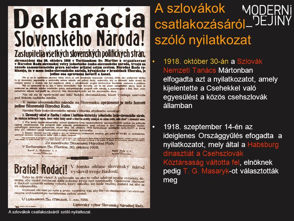 A szlovákok csatlakozásáról szóló nyilatkozat 1918.