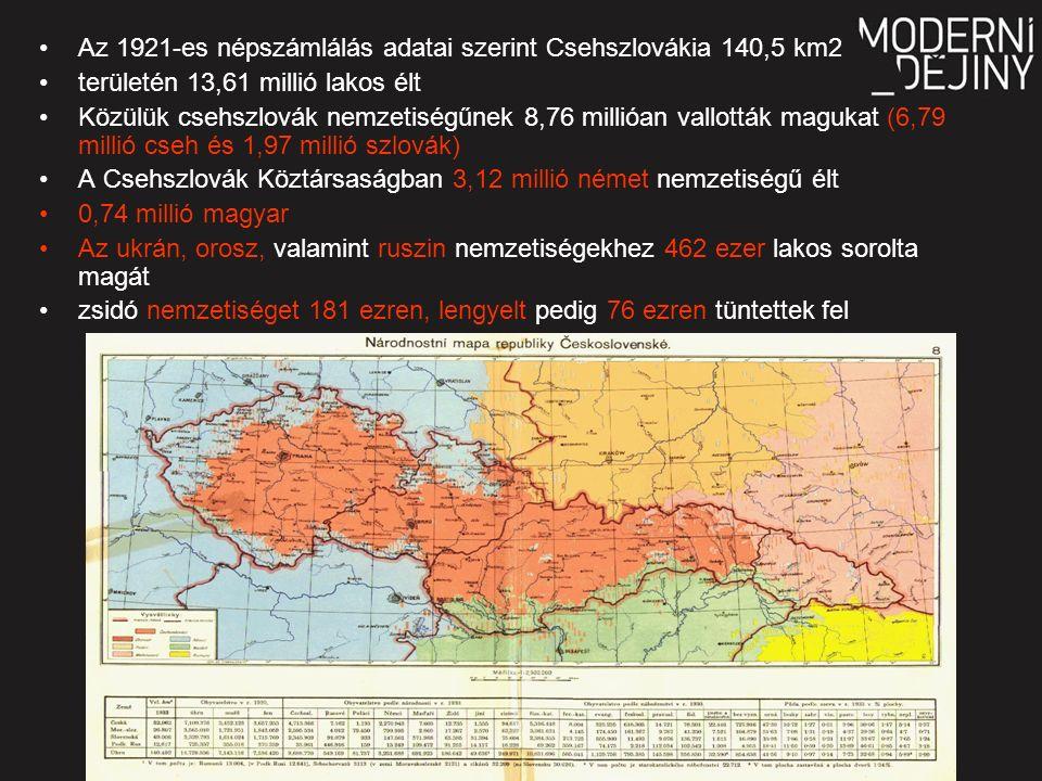 Az 1921-es népszámlálás adatai szerint Csehszlovákia 140,5 km2 területén 13,61 millió lakos élt Közülük csehszlovák nemzetiségűnek 8,76 millióan vallották magukat (6,79 millió cseh és 1,97 millió szlovák) A Csehszlovák Köztársaságban 3,12 millió német nemzetiségű élt 0,74 millió magyar Az ukrán, orosz, valamint ruszin nemzetiségekhez 462 ezer lakos sorolta magát zsidó nemzetiséget 181 ezren, lengyelt pedig 76 ezren tüntettek fel