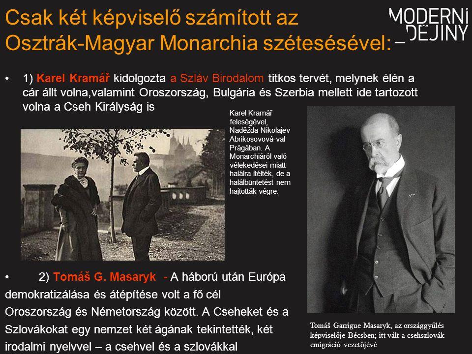 Csak két képviselő számított az Osztrák-Magyar Monarchia szétesésével: 1) Karel Kramář kidolgozta a Szláv Birodalom titkos tervét, melynek élén a cár állt volna,valamint Oroszország, Bulgária és Szerbia mellett ide tartozott volna a Cseh Királyság is 2) Tomáš G.