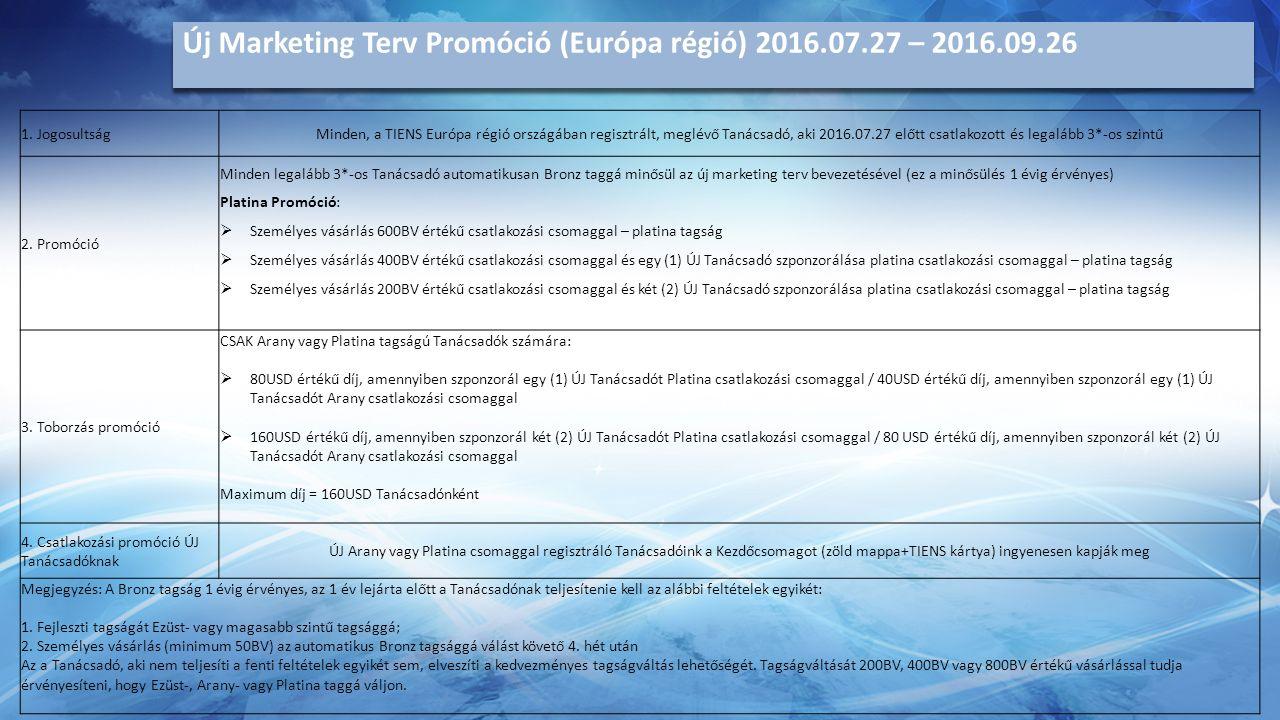 Új Marketing Terv Promóció (Európa régió) 2016.07.27 – 2016.09.26 1.